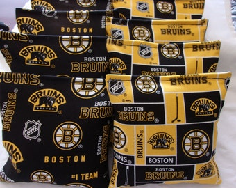 8 ACA Regulation Cornhole Bags - 8 NHL Boston Bruins on 2 Awesome Prints