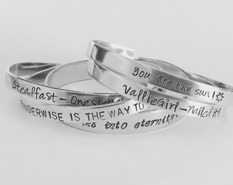 "Customized Hand Stamped Bracelet Aluminum Cuff Personalized Gift You Choose Letters Custom Bracelet - 1/4"" Wide - Bracelet - 16 fonts"