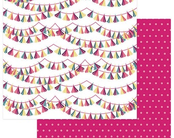 2 Sheets of Photo Play FUN WITH FRIENDS 12x12 Scrapbook Paper - Fringe Banners