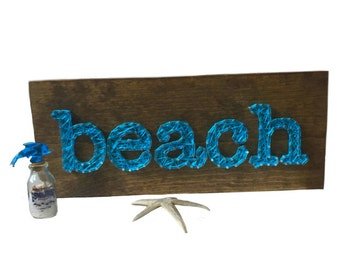 String Art Beach Sign - wooden sign - beach house gift - boat - home decor