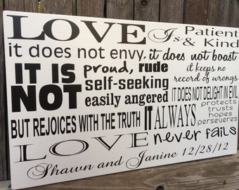 1 Corinthians 13 Sign Love is Patient Love is Kind Wood Sign Corinthians Scripture Art Christian Wall Decor Personalized Home Decor Sign