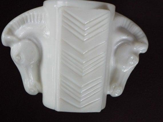Art Deco Milk Glass Horse Head Vase Macbeth Evans