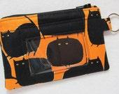 Halloween Black Cat Keychain ID Wallet w/ Split Ring, Student / Teacher / Work ID, Badge Holder, Zip Pouch - 2 Options for ID Pocket