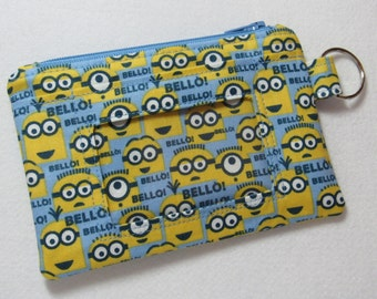 Minion Keychain ID Wallet w/ Split Ring, Student / Teacher / Work ID, Badge Holder, Zip Pouch, Despicable Me - 2 Options for ID Pocket