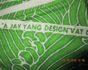 55 x 54 Vintage  Jay Yang screen print Fabric  Deco like pattern greens