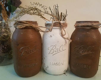 SALE! Distressed Brown and White Mason Jar, Painted Mason Jar, Wedding Decor, Baby Shower Decor, Fall Decor, Rustic Decor, Rustic Mason Jar