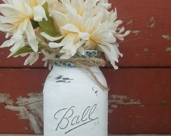 Rustic Mason Jar ~Distressed Mason Jar ~Shabby Chic Mason Jar~ Chalk Paint