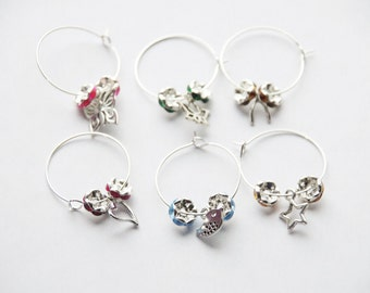 50% off Wine Glass Charms Wine Lover Gift Oeneophile Accessories Silver Wine Glass Charm Set Wine Rings Wine Charm Favors Hostess Gift