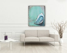"Original Oyster Shell Acrylic Painting 30"" x 40"" Ready to Hang, Hand-Painted Art and Collectibles"