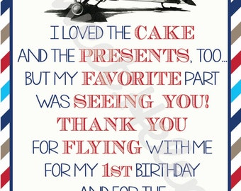 Vintage Airplane Birthday Party Thank You Notes/Cards : Vintage Plane