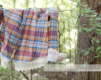 2XL Upcycled Flannel with lace~ 2XL