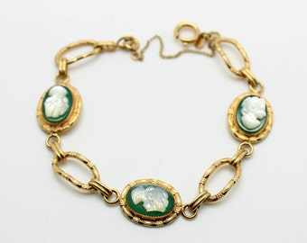 Lovely 12K Gold Filled Green Onyx Carved Mother of Pearl CAMEO Link Bracelet-Etched Antique Jewelry