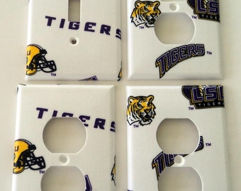 LSU Tigers Light Switch Plate Outlet Cover Wall Decor Bundle Set