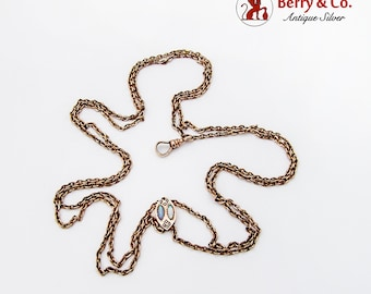 Long Gold Filled Watch Chain Opal Seed Pearl Slider 1890