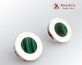 SaLe! sALe! Round Malachite and Sterling Silver Post Earrings