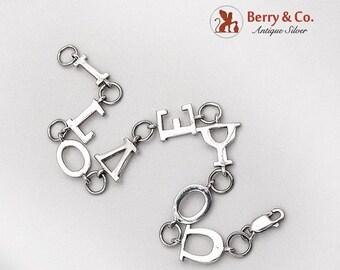 SaLe! sALe! I Love You Letter Link Bracelet Sterling Silver