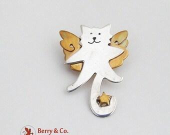 SaLe! sALe! Flying Cat Brooch Sterling Silver Brass