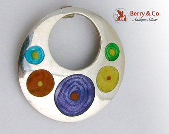 Colorful Round Enamel Pendant Sterling Silver
