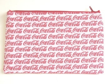 Coca Cola Fabric Pencil Case // Coca Cola Zipper Pouch