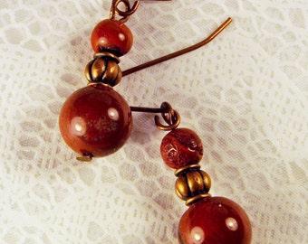 """Cynthia Lynn """"SIERRA VISTA"""" Red Jasper Beaded Copper Earrings"""