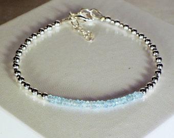"Cynthia Lynn ""SHIMMER"" Sterling Silver December Birthstone Blue Topaz Minimalist Bracelet"