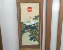 Vintage Hand Painted Japanese Scroll with Cranes