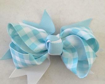 "Light Blue and White Checkered Hair Bow on Hair Clip 3 1/2"""