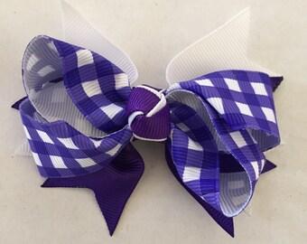 "Purple and White Checkered Hair Bow on Hair Clip 3 1/2"""