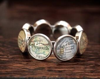 Map bracelet stretchy bracelet with custom map personalized elastic bracelet / chunky elastic bracelet / big stretchy bracelet with map