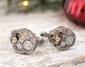 Geek cufflinks steampunk watch cufflinks/ Sterling cufflinks for Men/ Mens gifts/ Birthday Gift for Him/ Cuff links for Geek/ Black cufflink