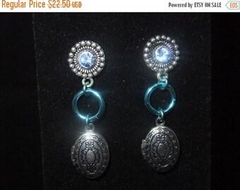 ON SALE Jeweled Blue Locket Stud Earrings