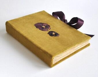 OOAK velvet journal notebook, vintage journal, blank book, sketchbook diary oldschool notebook travel jorunal diary notebook velvet notebook