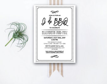 INSTANT DOWNLOAD couple's shower invitation / engagement party invite / I Do BBQ / bbq shower / wedding shower / his and hers shower