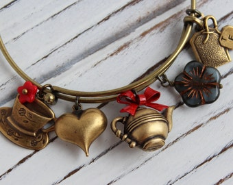 Afternoon Tea - antique brass expandable charm bangle bracelet, adjustable bangle