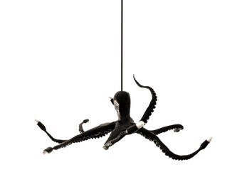octopus chandelier black elegant art sculpture modern home decor lamp papier mache pendant recyled materials eco friendly paper