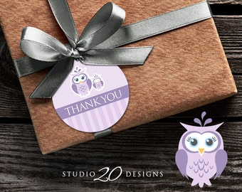 Instant Download Lilac Owl Thank You Tags, Printable Purple Grey Owl Gift Tags, Owl Baby Shower Thank You Tags, Lavender Owl Favor Tags 23H