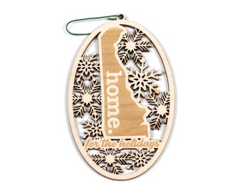 Engraved Delaware Wood Christmas Ornament