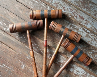 Vintage Croquet Mallet Collection ~ Wickets Vintage Lawn Game ~ Game Room Wall Decor /#0594