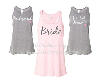 4 Bridal Party Flowy Racerback Tank Tops, Bride Shirt, Bridesmaid Shirts, Bachelorette Party Tank Tops, Maid of Honor Shirt - Set of Four