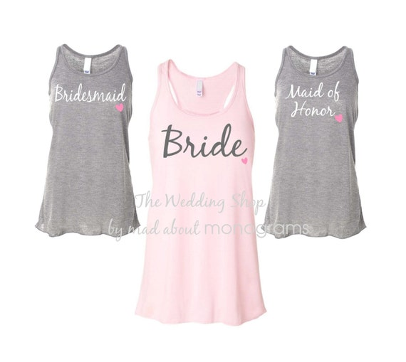 4 Bridal Party Flowy Racerback Tank Tops Bride Shirt