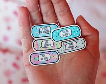 15 Motivational Bandaid Tattoos ~ Temporary Tattoo Quotes ~ Kawaii Mental Health Tumblr ~ Girlfriend Gift~ Self Care Kit Pack Cute Gifts