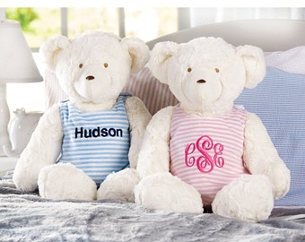 Monogrammed Teddy Bear | Plush Bear | Baby Shower Gift