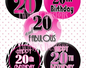 "INSTANT DOWNLOAD  1"" Happy 20th Birthday bottle cap images - 4 X 6 Digital Collage Sheet Cupcake topper Craft Supplies Party Banner Stickers"