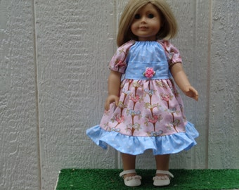 Pink Birds Ruffled Peasant Dress for 18 inch Dolls-Shown on My American Girl Doll