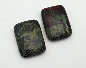 2 dragon blood jasper stone bead , 18mm x 25mm #PP140
