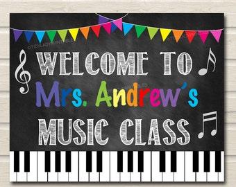 Music Teacher Classroom Door Sign, Printable Classroom Decor, Custom Teacher Sign, Back to School, School Door Sign, Teacher Door Hanger
