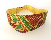 Kente Reversible Headband,african fabric headband,womens headband, girls headband,head band, yoga headband, dreadlocks headband S-M H15
