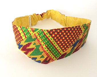 S-M  H15 Reversible Headband,african fabric headband,womens headband, girls headband,head band, yoga headband, dreadlock headband