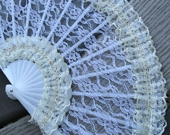 Hand fan - Bridal Accessories - Wedding hand fan - hand held fan - lace hand fan - Bride Accessories - Wedding Accessories