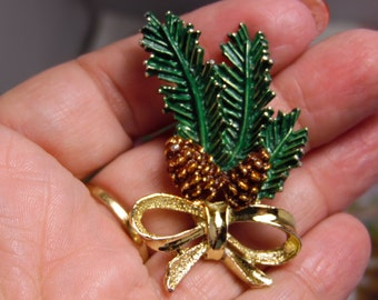 Gold tone Enamel Pine Cone Branch With Pretty Gold Bow Brooch/Pin